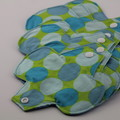 7 pads in Blue Green Dots Mixed sizes Reusable Cloth Menstrual Pad