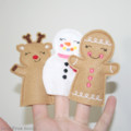 Free Post Christmas Finger Puppets Snowman Reindeer Gingerbreadman
