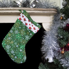 Snowflakes and robins Christmas stocking