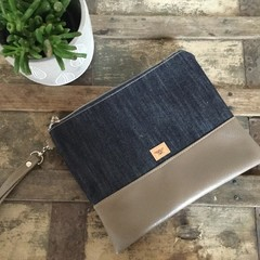 Flat Clutch - Denim/ Brown