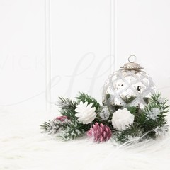 Christmas Stock Photo, Styled Christmas Photo, Pink & Silver Christmas Photo