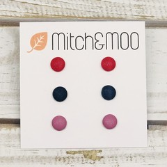 Small STUD PACK - Red/Navy/Pink