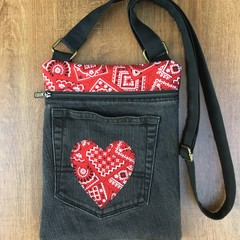 Black Upcycled Denim Cross Body Bag
