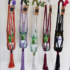 Macrame Wine Bottle Carriers. Re-useable wine bottle gift bag