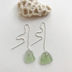 Sage green sea glass thread earrings