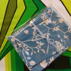 Handy Bags- White/orage floral print on blue