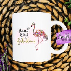 Flamingo floral mug - stand tall & be fabulous