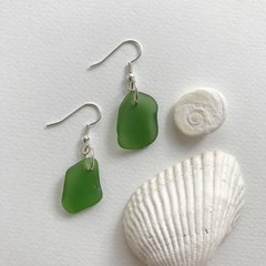 Green sea glass dangles