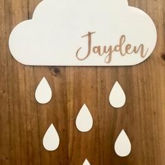 Personalised Cloud & Raindrops Nursery/Kids Room Sign