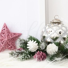 Christmas Stock Photo, Styled Christmas Photo, Pink Christmas Photo