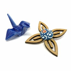 Kimono Flower Brooch - Blue Florals