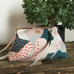 Small Handbag - Green/Pink modern floral
