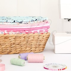 Sewing Stock Photo with Fabric Basket and Sewing Machine