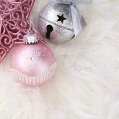 Pink Bauble Christmas Styled Stock Photo