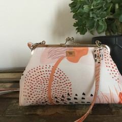Small Handbag - Cream/Pink modern floral