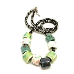 Speckled Egg Ceramic Beads on Kimono Cord - Greens