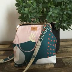 Handbag (sml/long) - Green/Pink Modern Floral