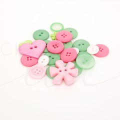 Sewing Stock Photo Pink and Green Buttons