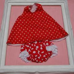 Baby Cross Over Angel Top and matching Frilly Nappy Cover - suit 3-6 month old