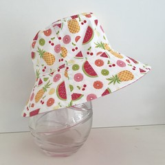 Girls summer hat in summer fruit fabric