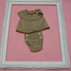 Hand Knitted Baby Angel Top and matching Nappy Cover