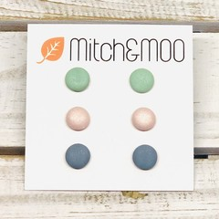 Medium STUD PACK - PaleGreen/PalePink/BlueGrey