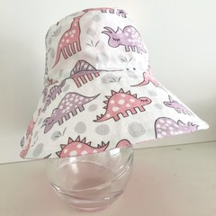 Girls summer hat in pink & purple dino fabric