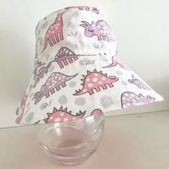 Girls summer hat in pink & purple dino fabric