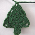 Crocheted Garland of Christmas Trees with Green String