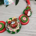 Rudolph - Twisted - Button Fusion Necklace - Button Jewellery - Earrings