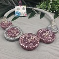 Mixed Sparkle Glitter Twisted Button Necklace - Button Earrings - Jewellery
