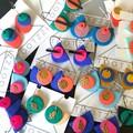 TEXTURE Hoops (Mint + Coral) Interchangable Statement Dangles