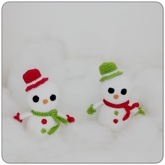 Set of 2 Crocheted Amigurumi Snowmen