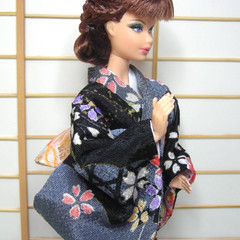 Fashion doll clothes Swanky black kimono set for Barbie, Poppy Parker handmade