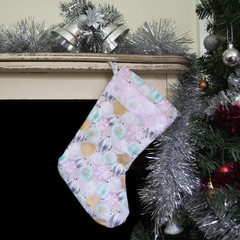 Light pink Christmas stocking with Baubles design