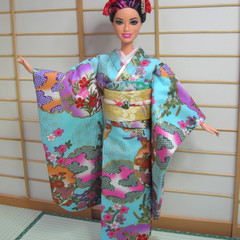 doll clothes light blue Japan kimono set for Barbie and other 12' doll handmade