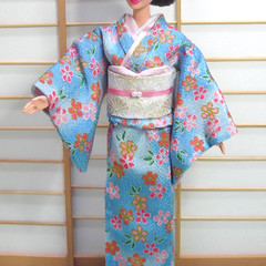 Doll clothes light blue Sakura kimono set for Barbie, Poppy Parker handmade