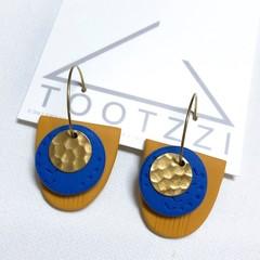 TEXTURE Hoops (Mustard + Cobalt Blue) Interchangable Statement Dangles