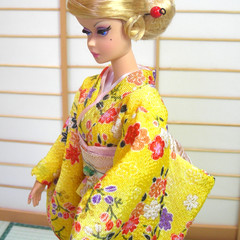 fashion doll clothes yellow Japan kimono set for Barbie dolls, Poppy Parker doll