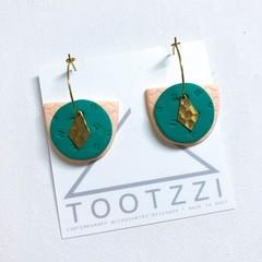 TEXTURE Hoops (Light Peach + Emerald Green) Interchangable Statement Dangles