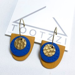 TEXTURE Hoops (Mustard + Cobalt Blue) Interchangable Statement Dangles