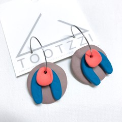 TEXTURE Hoops (Mocha + Teal + Coral) Interchangable Statement Dangles