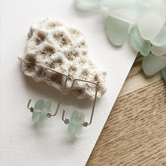 Square sea glass hoops