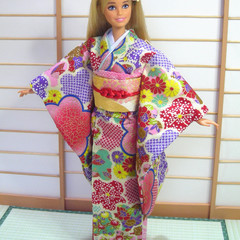doll clothes candy colour kawaii Japan kimono set for 12' fashion dolls handmade