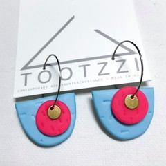 TEXTURE Hoops (Pastel Blue + Hot Pink) Interchangable Statement Dangles
