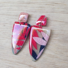 Handmade polymer clay dangle earrings in red, navy and pink