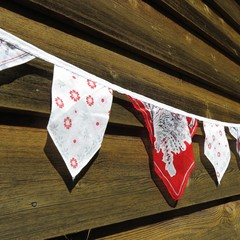 Vintage Hanky Bunting Wedding Engagement Party Red themed  *FREE POSTAGE*