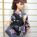 Fashion doll clothes Swanky black kimono set for Barbie, Poppy Parker handmade