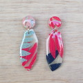 Handmade polymer clay earrings in translucent and pastel mint, pink and peach