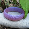 SALE Floral Bangle  - resin flower carved bracelet silver, blue or purple